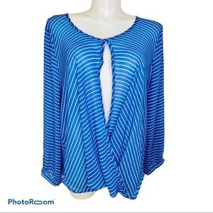 NY Collection 3X blue and white sheer top